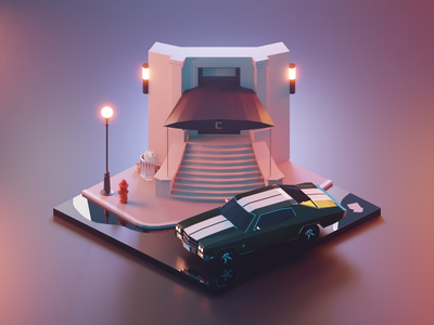 John Wick at Continental continental vehicle john wick chevelle car fanart building lowpolyart diorama low poly model isometric lowpoly render design blender illustration 3d