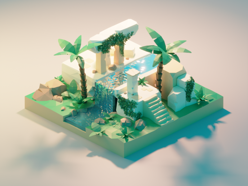 Ancient Ruins ancient ruins building lowpolyart diorama low poly model isometric lowpoly render design blender illustration 3d