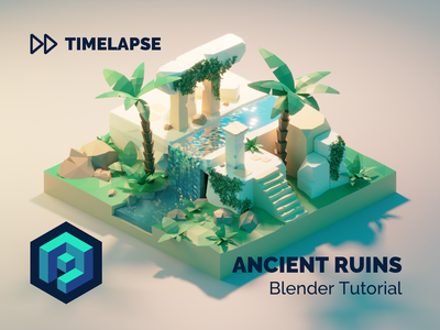 Ancient Ruins Tutorial ancient ruins jungle forest tutorial building lowpolyart diorama low poly model isometric lowpoly render design blender illustration 3d