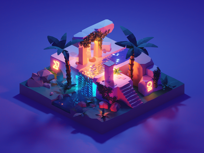 Forgotten Temple ruins ancient night lights glow temple lowpolyart diorama low poly model isometric lowpoly render design blender illustration 3d