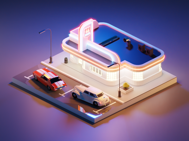 Route 66 Diner diner cadillac chevelle route66 building lowpolyart diorama low poly model isometric lowpoly render design blender illustration 3d