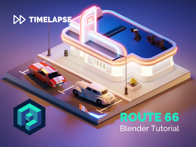 Route 66 Tutorial diner cars route66 building lowpolyart diorama low poly model isometric lowpoly render design blender illustration 3d