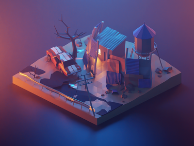 Post-Apocalyptic Settlement 3dillustration settlement fallout postapocalyptic building lowpolyart diorama low poly model isometric lowpoly render design blender illustration 3d