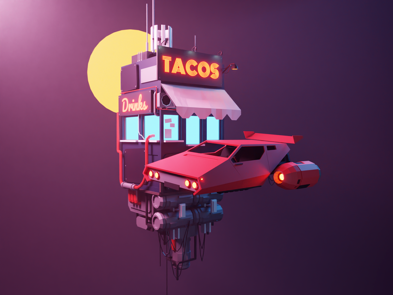 Cyberpunk Taco hovercar sci-fi scifi cyberpunk space lowpolyart diorama low poly model lowpoly render design blender illustration 3d