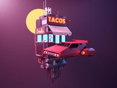 Cyberpunk Taco hovercar sci-fi scifi cyberpunk space lowpolyart diorama low poly model lowpoly render design blender illustration 3d