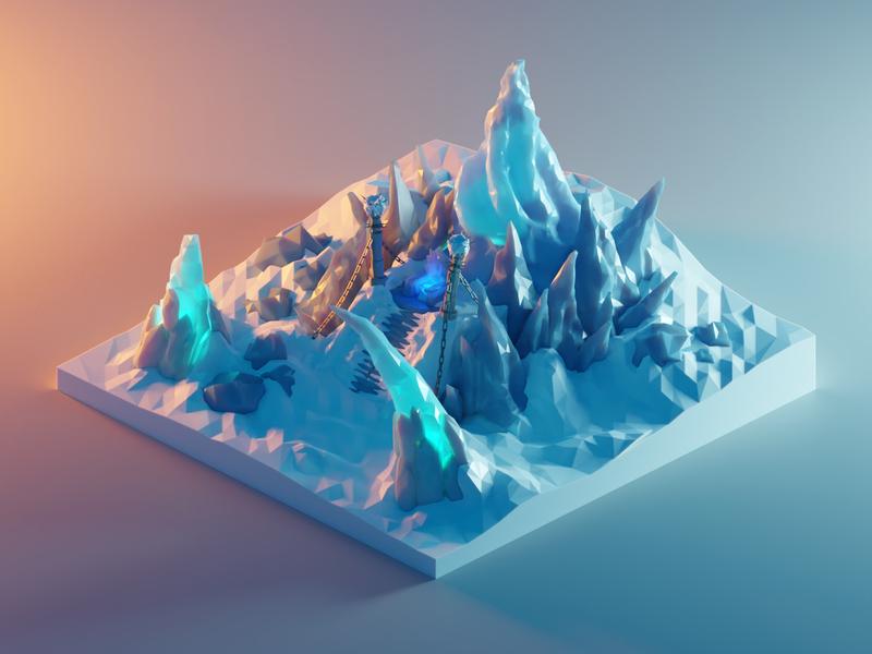 Frozen Throne from World of Warcraft frozenthrone worldofwarcraft wow fanart lowpolyart diorama low poly model isometric lowpoly render design blender illustration 3d