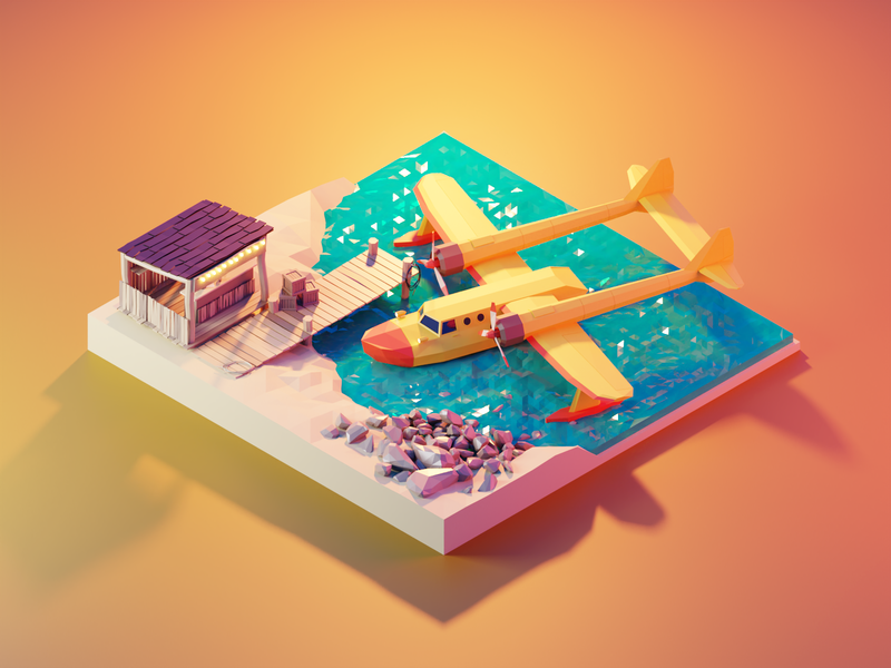 Tale Spin disney seaduck talespin fanart lowpolyart diorama low poly model isometric lowpoly render design blender illustration 3d