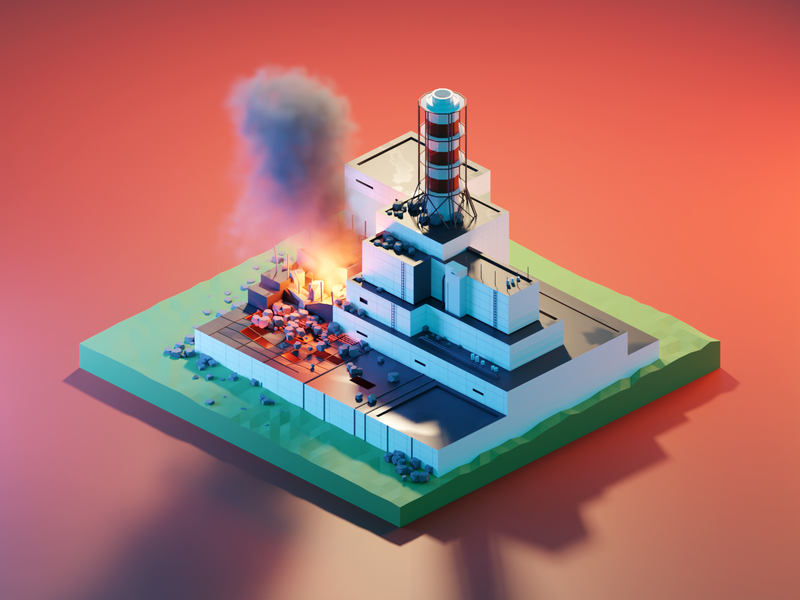 Chernobyl powerplant chernobyl lowpolyart diorama low poly model isometric lowpoly render design blender illustration 3d
