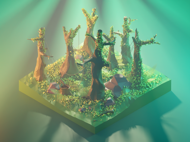 Forest Diorama trees rainforest forest nature lowpolyart diorama low poly model isometric lowpoly render design blender illustration 3d