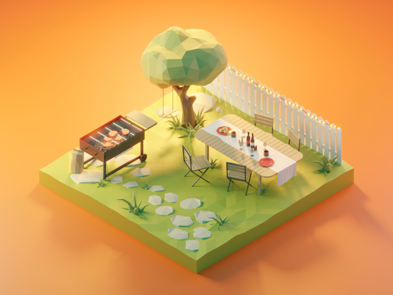 Barbecue barbecue lowpolyart diorama low poly model isometric lowpoly render design blender illustration 3d