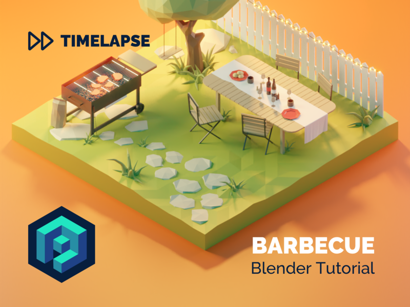 Barbecue Tutorial garden barbecue tutorial lowpolyart diorama low poly model isometric lowpoly render design blender illustration 3d