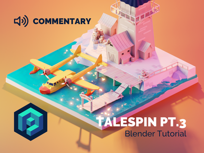 Tale Spin Part 3 Tutorial cartoon disney talespin tutorial building lowpolyart diorama low poly model isometric lowpoly render design blender illustration 3d