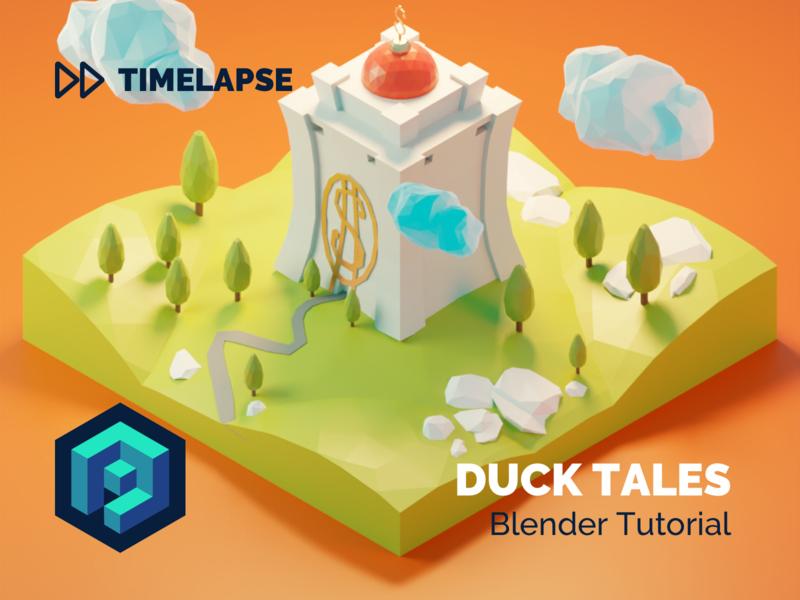 Duck Tales Tutorial duck tales ducktales disney fanart tutorial building lowpolyart diorama low poly model isometric lowpoly render design blender illustration 3d