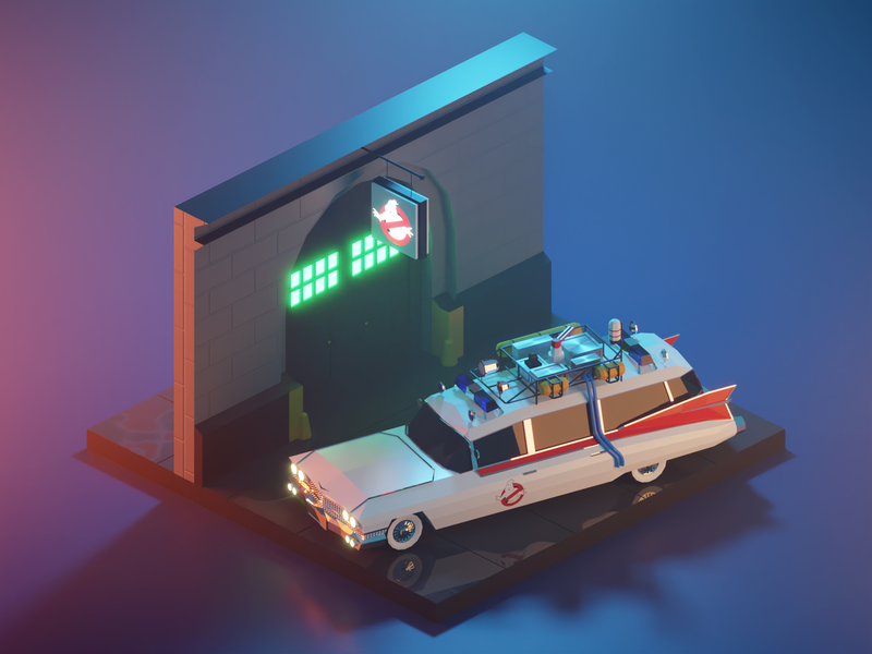 Ghostbusters ECTO-1 ecto-1 ghostbusters car fanart building lowpolyart diorama low poly model isometric lowpoly render design blender illustration 3d