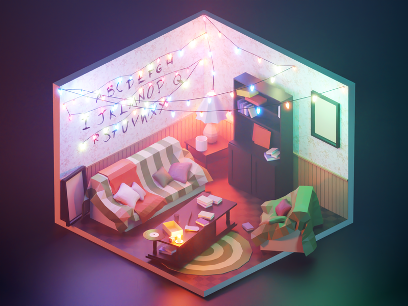 Stranger Things scif-fi stranger things byers living room room fanart lowpolyart diorama low poly model isometric lowpoly render design blender illustration 3d