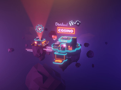 Casino Hero Animation crypto casino cyberpunk web animation motion design animation lowpolyart diorama low poly model lowpoly render design blender illustration 3d