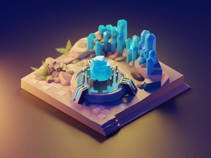Crystals sci-fi fantasy crystals lowpolyart diorama low poly model isometric lowpoly render design blender illustration 3d