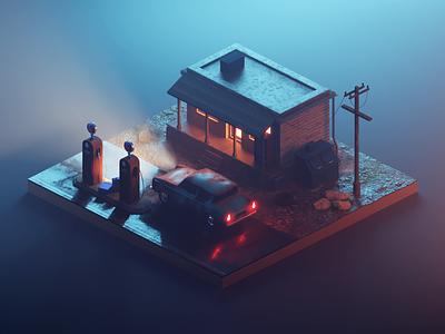 Gas Station (Realism Version) hardsurface realism building diorama model isometric render design blender illustration 3d