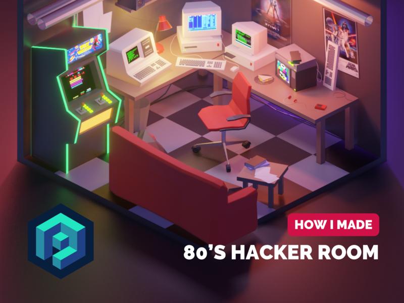80's Hacker Room Tutorial retro design retrowave synthwave 80s style tutorial lowpolyart diorama low poly model isometric lowpoly render design blender illustration 3d