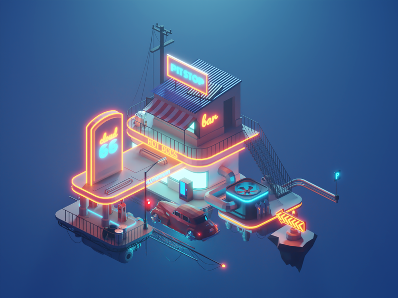 Cloud Station game design game art concept dieselpunk cyberpunk building lowpolyart diorama low poly isometric lowpoly render design blender illustration 3d