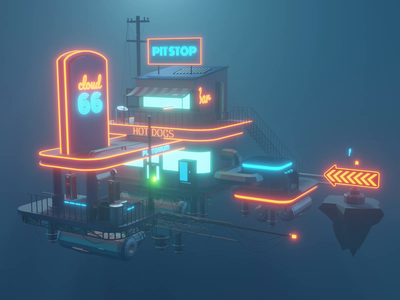 Cloud Station Animation animations motion design motion dieselpunk cyberpunk animation building lowpolyart diorama low poly isometric lowpoly render design blender illustration 3d