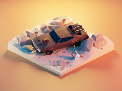Mad Max Interceptor ford falcon vehicle car mad max fanart lowpolyart diorama low poly model isometric lowpoly render design blender illustration 3d