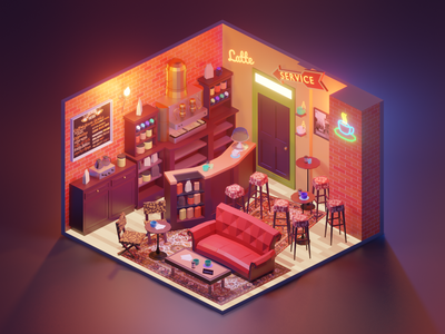 Central Perk friends fanart diorama lowpolyart low poly isometric lowpoly blender illustration 3d