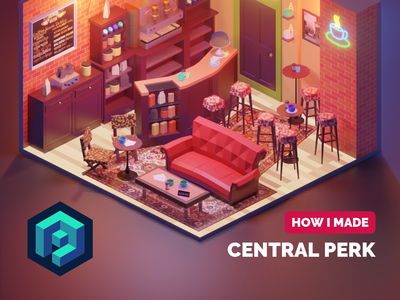 Central Perk Tutorial tutorial fanart lowpolyart diorama low poly isometric lowpoly blender illustration 3d