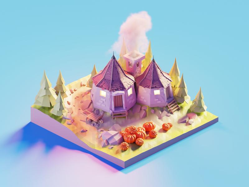 Hagrid's Hut hagrids hut harry potter fanart lowpolyart diorama low poly isometric lowpoly blender illustration 3d
