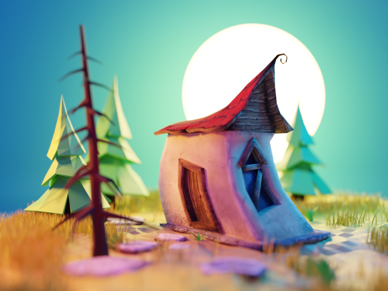 Cabin in the Woods burton substance painter lowpolyart low poly lowpoly blender illustration 3d