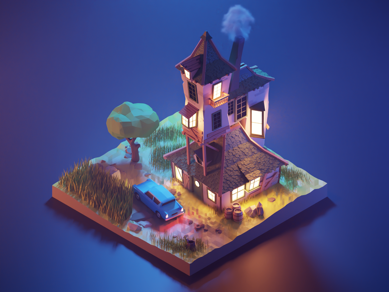 The Burrow in the Night render fanart harry potter isometric lowpolyart diorama low poly lowpoly blender illustration 3d