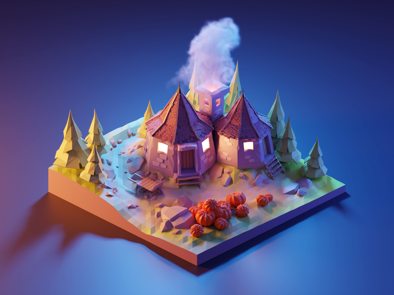 Hagrid's Hut in the Night harry potter fanart diorama lowpolyart low poly isometric lowpoly blender illustration 3d