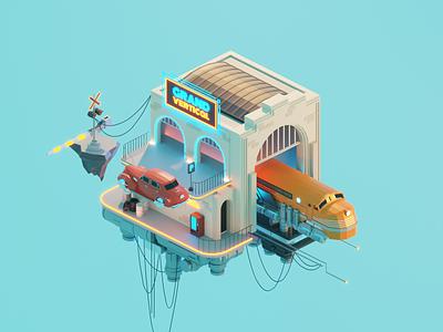 Cloud Train dieselpunk diorama lowpolyart low poly isometric lowpoly render blender illustration 3d