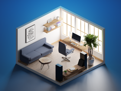 Home Office low poly lowpolyart workspace office diorama isometric lowpoly render blender illustration 3d