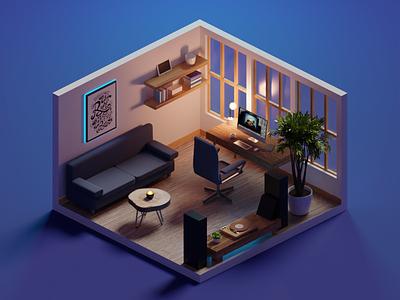 Night Shift office design office room diorama isometric render blender illustration 3d