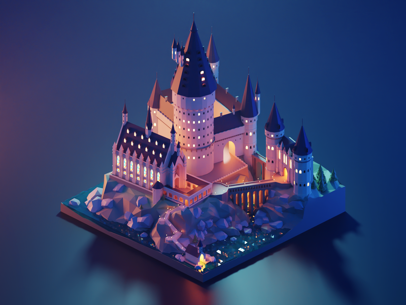 Hogwarts Castle harry potter hogwarts fanart lowpolyart diorama low poly isometric lowpoly blender illustration 3d