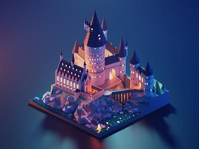 Hogwarts Castle harry potter hogwarts fanart lowpolyart diorama low poly isometric lowpoly blender illustration 3d
