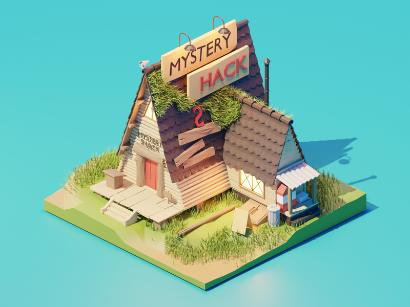 Mystery Shack disney gravity falls mystery shack fanart lowpolyart diorama low poly isometric lowpoly render blender illustration 3d