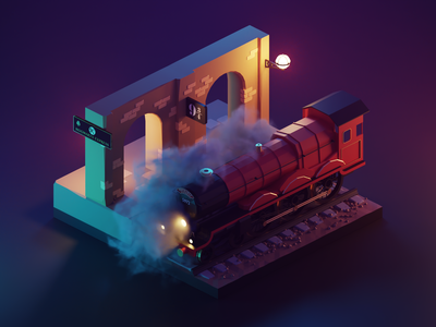 Night Hogwarts Express hogwarts express harry potter fanart lowpolyart diorama low poly isometric lowpoly render blender illustration 3d