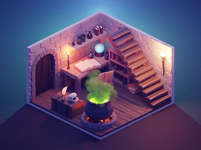 Witch's Lair lowpolyart diorama low poly isometric lowpoly render blender illustration 3d