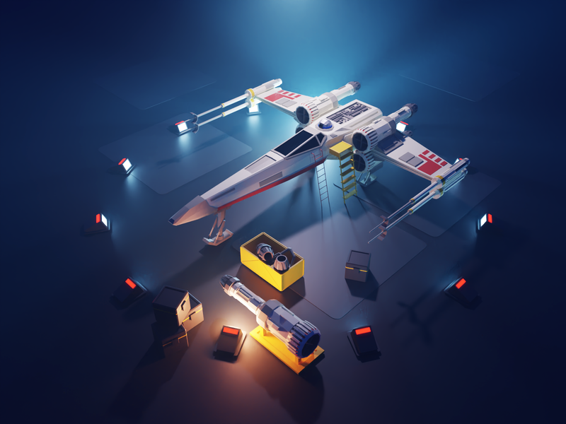 Star Wars X-Wing sci-fi spaceship x-wing star wars fanart lowpolyart diorama low poly lowpoly render blender illustration 3d