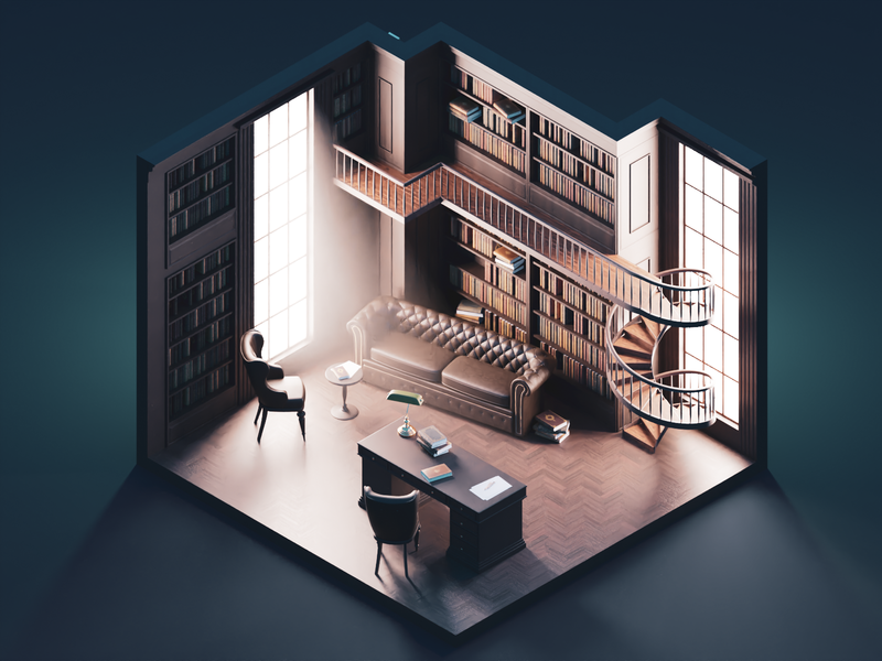 The Study antique library room interior diorama isometric render blender illustration 3d