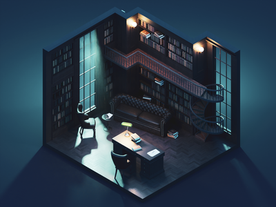 The Study at Night