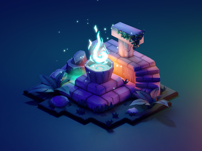 Ancient Altar stylized lowpolyart diorama low poly isometric lowpoly render blender illustration 3d