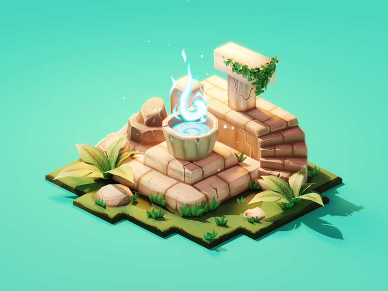 Ancient Altar texture painting painted lowpolyart diorama low poly isometric lowpoly render blender illustration 3d