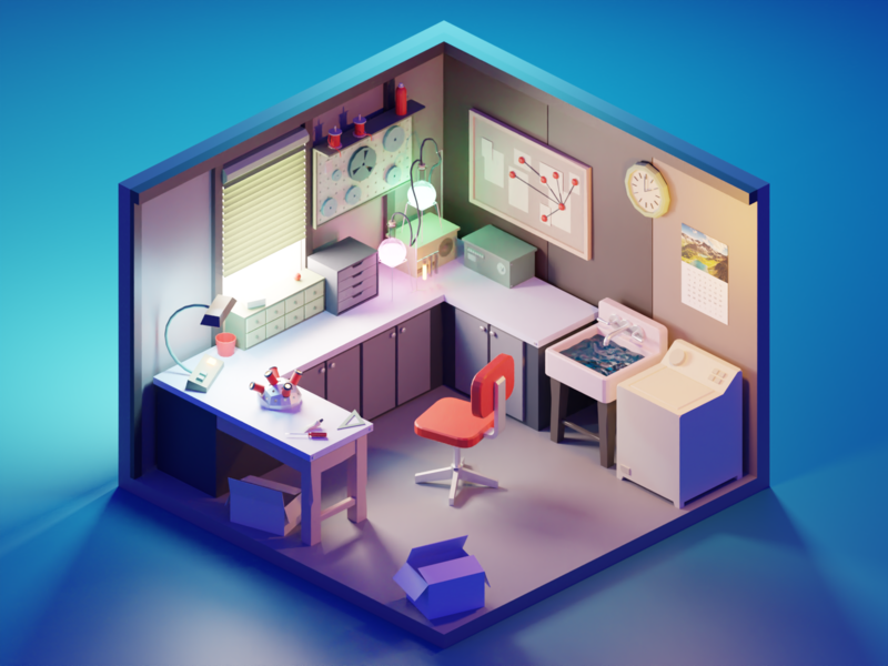 Rick & Morty Garage room rick and morty fanart lowpolyart diorama low poly isometric lowpoly render blender illustration 3d