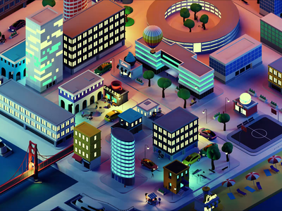 Polywork City at Night city illustration city animation lowpolyart low poly isometric lowpoly render blender illustration 3d