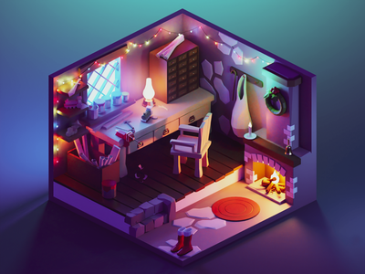 Toy Workshop room workshop christmas xmas lowpolyart diorama low poly isometric lowpoly render blender illustration 3d