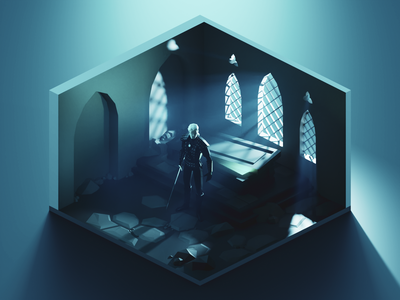Witcher geralt of rivia witcher fanart lowpolyart diorama low poly isometric lowpoly render blender illustration 3d