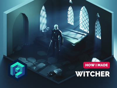 Witcher Tutorial witcher tutorial fanart lowpolyart diorama low poly isometric lowpoly render blender illustration 3d